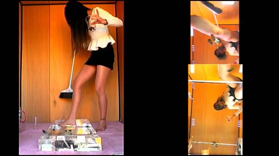 黒髪女性が生ストッキングで巨大ゴキブリを踏み潰す!-後編- サンプル画像02