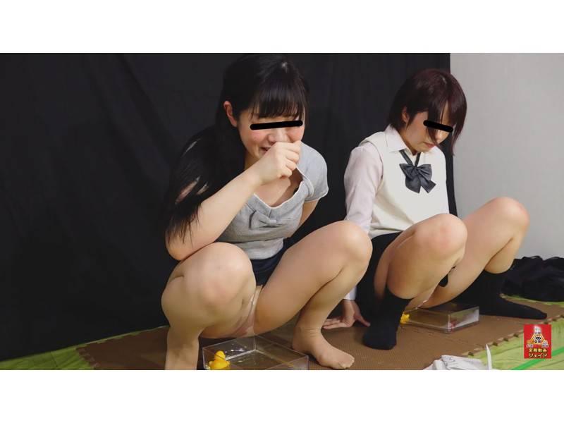 おしっこガマン極限対決 女学生とOLのお漏らし勝負 3 1/2 サンプル画像7